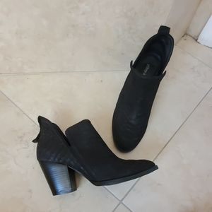 Jeffrey Campbell black snake skin effect booties